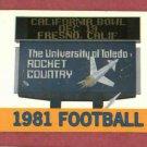 1981 University Of Toledo Rockets Football Pocket Schedule