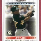 2003 Playoff Prestige Award Winners Rickey Henderson # AW-11 #D / 1990