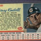 1962 Post Jerry Kindall Chicago Cubs # 191