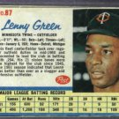 1962 Post Lenny Green Minnesota Twins # 87
