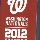 2012 Washington Nationals Pocket Schedule