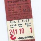 August 3 1973 Philidelphia Phillies V Pittsburgh Pirates Ticket Stub Willie Stargell HR