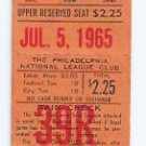 July 5 1965 Philiadelphia Phillie V Pittsburgh Pirates Ticket Stub Double Header