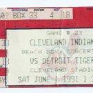 June 1 1991 Cleveland Indians V Detroit Tigers Ticket Stub
