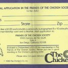 Oddball 1980 The San Diego Chicken Friends Of The Chicken Society Application