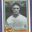 1987 Nestle All Time Dream Team Lou Gehrig New York Yankees # 1 Oddball