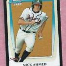 2011 Bowman Draft Nick Ahmed Atlanta Braves # BDPP75 Rookie