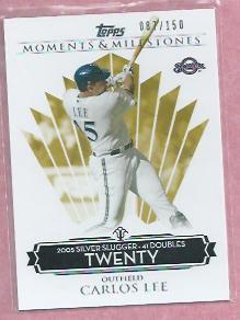 2008 Topps Moments & Milestones Carlos Lee Milwaukee Brewers # 127    87/150