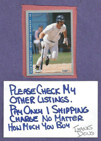 1993 Fleer Fruit Of The Loom Don Mattingly New York Yankees Dodgers Oddball # 43