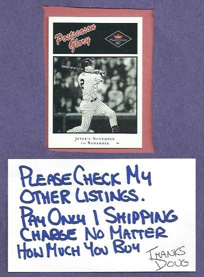 2001 Fleer Platinum Postseason Glory Derek Jeter New York Yankees Insert # 494