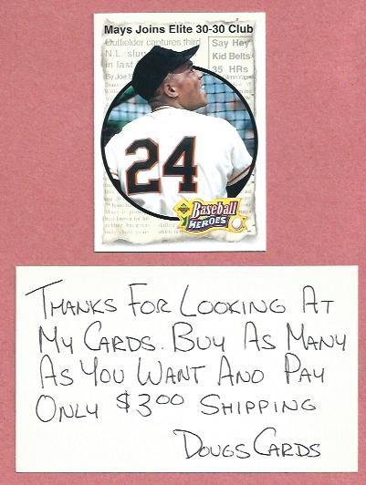 1993 Upper Deck Baseball Heroes Willie Mays Giants # 48