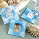 Beach Theme Wedding Favor Glass Photo Coasters Set of 2