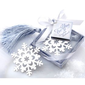 Snowflake Bookmark with Ice Blue Tassle Wedding Favor