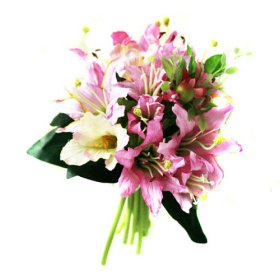 Beautiful Pink & Purple Lily Wedding Bridal Bouquet