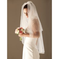 2 Layer Elbow with Beading Wedding Veil 0455-1