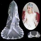 1 Layer Cathedral Length Lace Edge Wedding Veil TS058