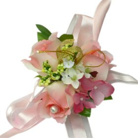 Elegant Pink Silk Rose Wedding Wrist Corsage SIM125
