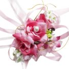 Elegant Fuchsia Silk Rose Wedding Wrist Corsage SIM107