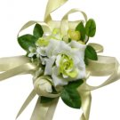 Elegant Yellow & White Silk Rose Wrist Corsage SIM103