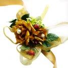 Fall Theme Wedding Gold Silk Roses Wrist Corsage SIM115