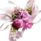 Fuchsia Roses & Camellia Wedding Wrist Corsage SIM098
