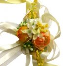 Orange Roses & Camellia Wedding Wrist Corsage SIM097