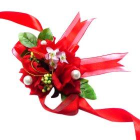 Elegant Red Silk Rose Wedding Wrist Corsage SIM095