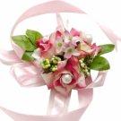 Pink & Light Yellow Silk Rose Wrist Corsage SIM092