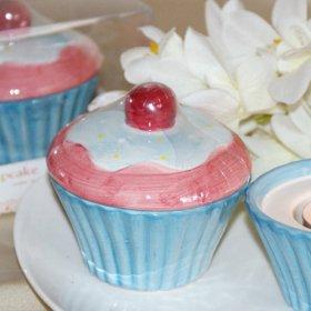 Ceramic Cup Cake Muffin Tea Light Holder Wedding Favor