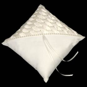 Elegance White Satin Wedding Ring Bearer Pillow