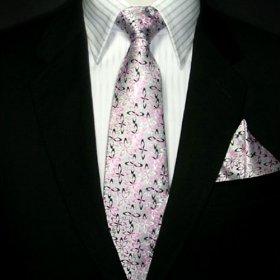 Groom & Groomen Silver & Pink Silk Tie Hanky & Cufflin