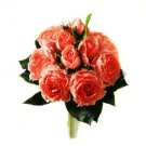 Silk Orange Roses Wedding Bridal Bouquet
