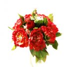 Silk Peony Red Wedding Bridal Bouquet