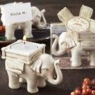 """Lucky Elephant"" Antique Ivory-Finish Tea Light Holder"
