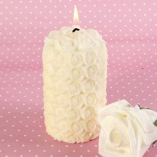 Ivory Delicate Rose Pillar Candles