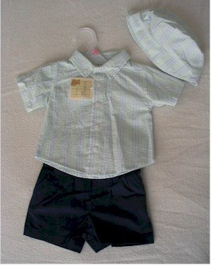 0-3 month 3-piece blue and green outfit
