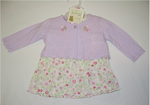 3-6 month off-white floral dress with lavender sweater
