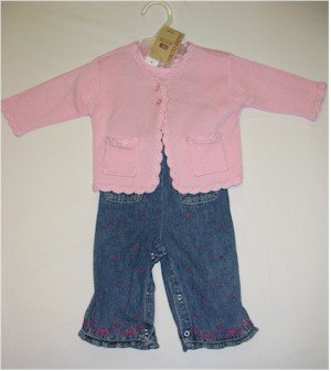 3-6 month jean overalls with pink short sleeve shirt and pink sweater