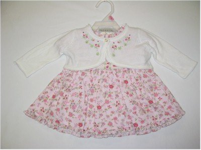 0-3 month pink floral dress with panty and white sweater