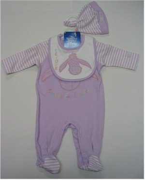 0-3 month lavender Eeyore sleeper with bib and hat