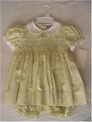 9 month yellow and green dress with smocking