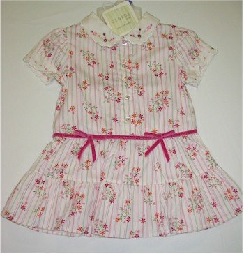 12 month off white dress with pink and orange flowers