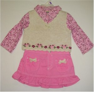 12 month pink floral shirt with beige vest and pink skirt