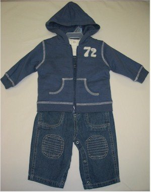 3-6 month jean overalls with white shirt and blue hooded jacket