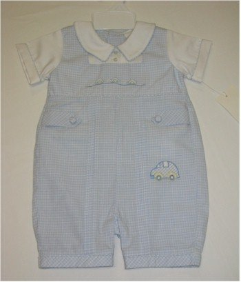 6 month blue and white one piece jumper with cars