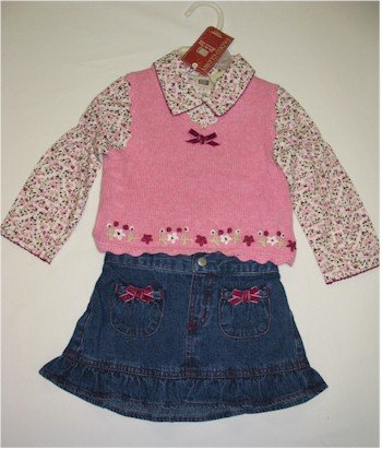 18 month jean skirt with pink sweater vest and floral shirt