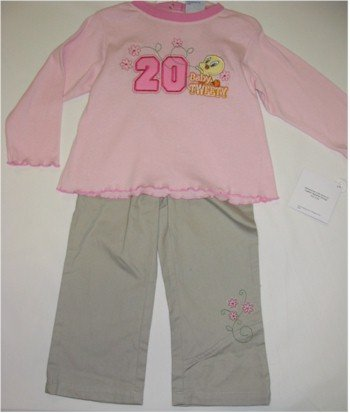 24 month Tweety pink shirt and khaki pants