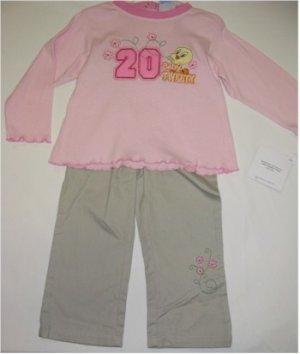 24 month Tweety pink shirt and khaki pants