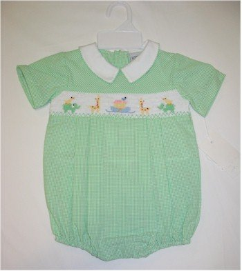 9 month green one piece jumper with smocking of Noah's Ark