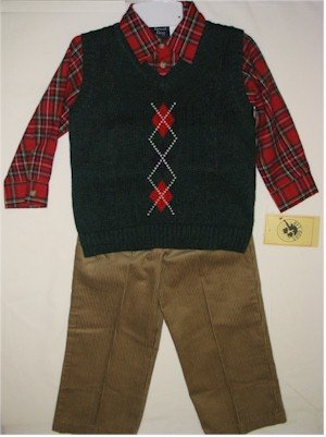 4T red plaid shirt with green vest and brown corduroy pants